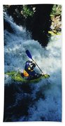 River Kayaking Over Waterfall, Crested Bath Towel