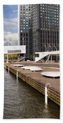River Promenade In Rotterdam Hand Towel