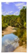 River View With Reflections - Digital Paint Bath Towel