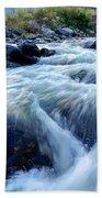 River Water Flowing Through Rocks At Dawn Bath Towel