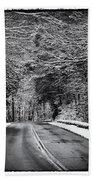 Road Through Dark Snowy Forest E93 Bath Towel