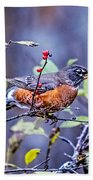Robin And Berries Bath Towel