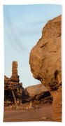 Rock Formations And Abandoned Building Hand Towel