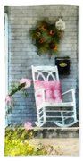 Rocking Chair With Pink Pillow Bath Towel