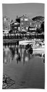 Rockport Harbor - Bw Bath Towel