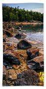 Rocks At Shore Of Georgian Bay Bath Towel