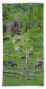 Rocky Mountain Elk Herd Bath Towel