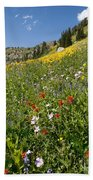 Rocky Mountain Wildflower Landscape Bath Towel