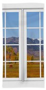 Rocky Mountains Horses White Window Frame View Bath Towel