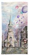 Romantic Montreal Canada - Watercolor Pencil Bath Towel