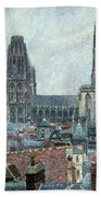 Roofs Of Old Rouen Grey Weather  Hand Towel