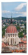 Rooftop Of Parliament Building In Budapest Bath Towel