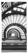 Rookery Building Oriel Staircase - Black And White Bath Towel
