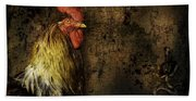 Rooster With Brush Calligraphy Loyalty Bath Towel
