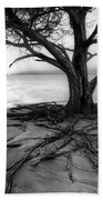 Roots Beach In Black And White Bath Towel