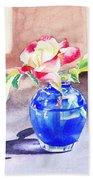 Rose In The Blue Vase  Hand Towel