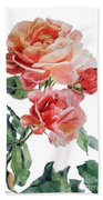 Watercolor Of Red Roses On A Stem I Call Rose Maurice Corens Bath Towel
