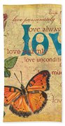 Roses And Butterflies 2 Hand Towel