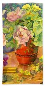 Roses And Pansies Hand Towel