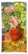 Roses And Pansies Bath Towel