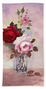 Roses In Glass Bath Towel