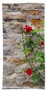 Roses On A Stone Wall Bath Towel