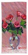 Roses On Pink Bath Towel