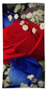 Roses - Red White And Blue Bath Towel