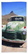 Route 66 - Old Green Chevy Bath Towel