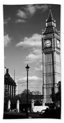 Routemaster Bus On Black And White Background Bath Towel