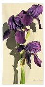 Royal Purple Iris Still Life Bath Towel