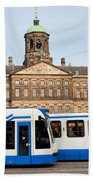 Royal Palace And Trams In Amsterdam Bath Towel