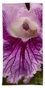 Ruffly Purple Orchid Closeup Bath Towel
