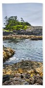 Rugged Coast Of Pacific Ocean On Vancouver Island Bath Towel
