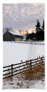 Rural Winter Landscape Bath Towel