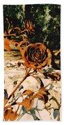 Rust And Roses Bath Towel