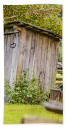 Rustic Fence And Outhouse Bath Towel