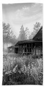 Rustic Historic Woodlea House - Black And White Bath Towel