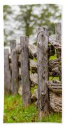 Rustic Home Made Split Rail Fence In The Mountains Of North Caro Bath Towel by Alex Grichenko