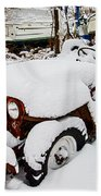 Rusty Jeep In Snow Hand Towel