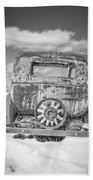 Rusty Old Car In The Snow Bath Towel