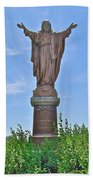 Sacred Heart Of Jesus Sculpture In Saint Laurent On Ile D'orleans-qc Hand Towel