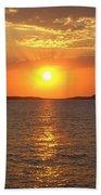 Sailing Boat In Ibiza Sunset Bath Towel