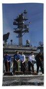 Sailors Participate In A Fight Deck Bath Towel