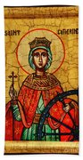 Saint Catherine Of Alexandria Icon Bath Towel