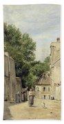 Saint-vincent Street, Montmartre Oil On Canvas Bath Towel