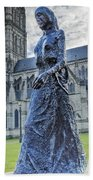 Salisbury Cathedral And The Walking Madonna 2 Bath Towel