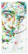 Salvador Dali Watercolor Portrait Bath Towel