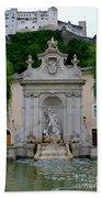 Salzburg Castle With Fountain Bath Towel