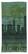 San Francisco California Skyline Silhouette Distressed On Worn Peeling Wood Bath Towel
